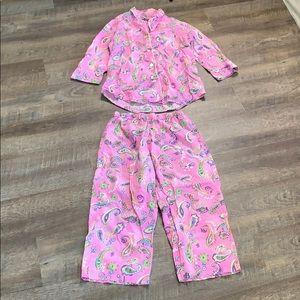 Ralph Lauren woman cotton paisley pink pajamas S